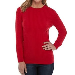 Kim Rogers woman's red Cable knit sweater size S